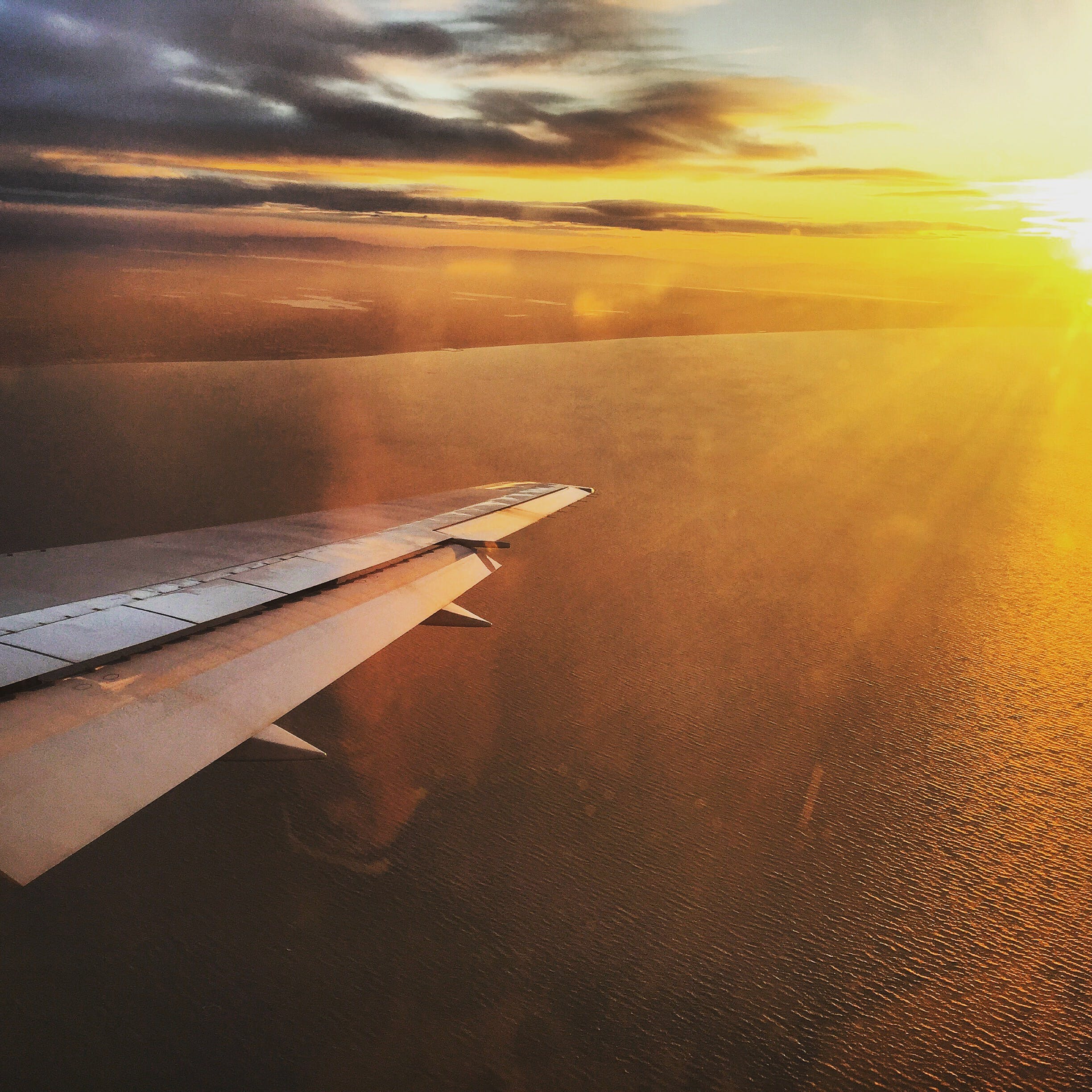 Aerial Photography of Plane Wing during Sunset