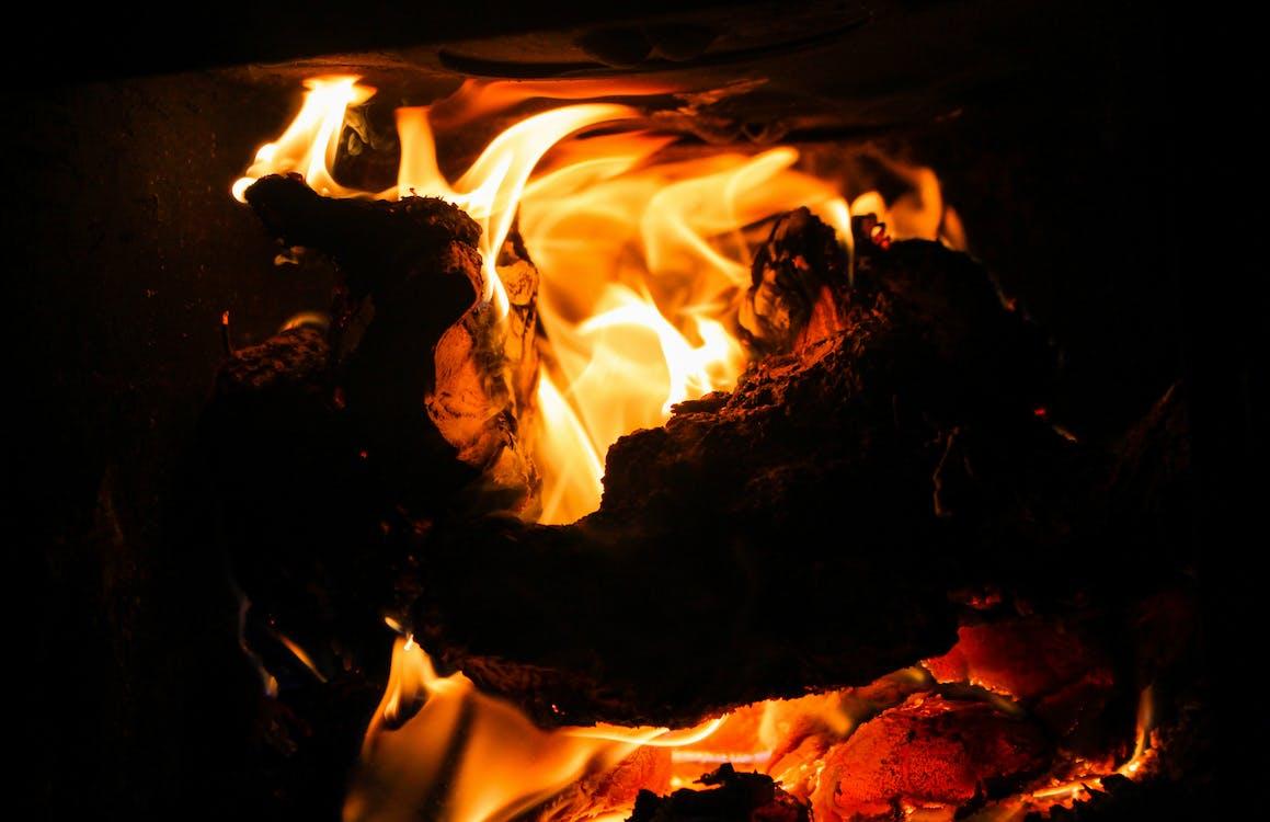 壁爐, 漆黑, 火堆