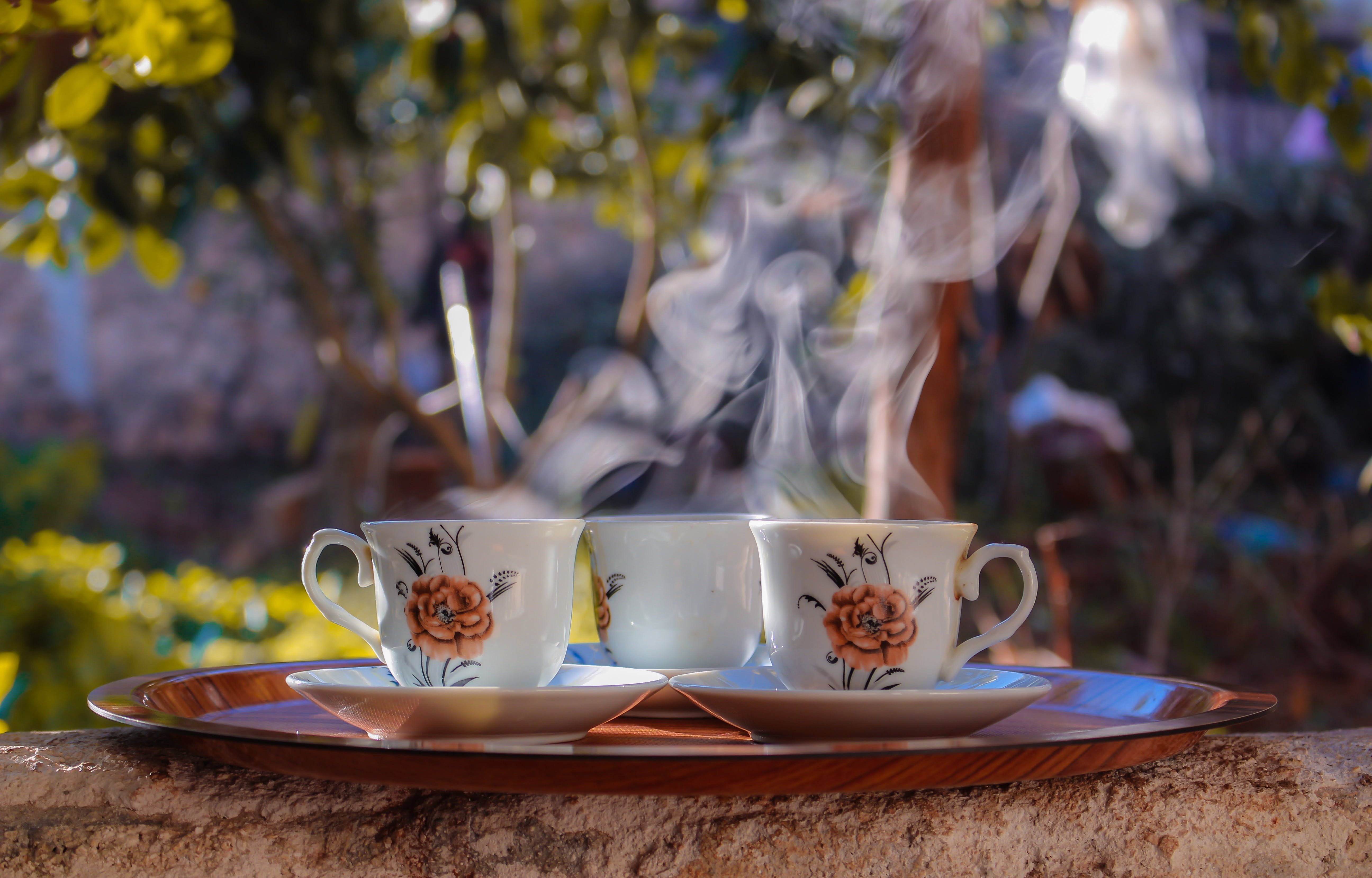 Teacups And Saucers On A Tray
