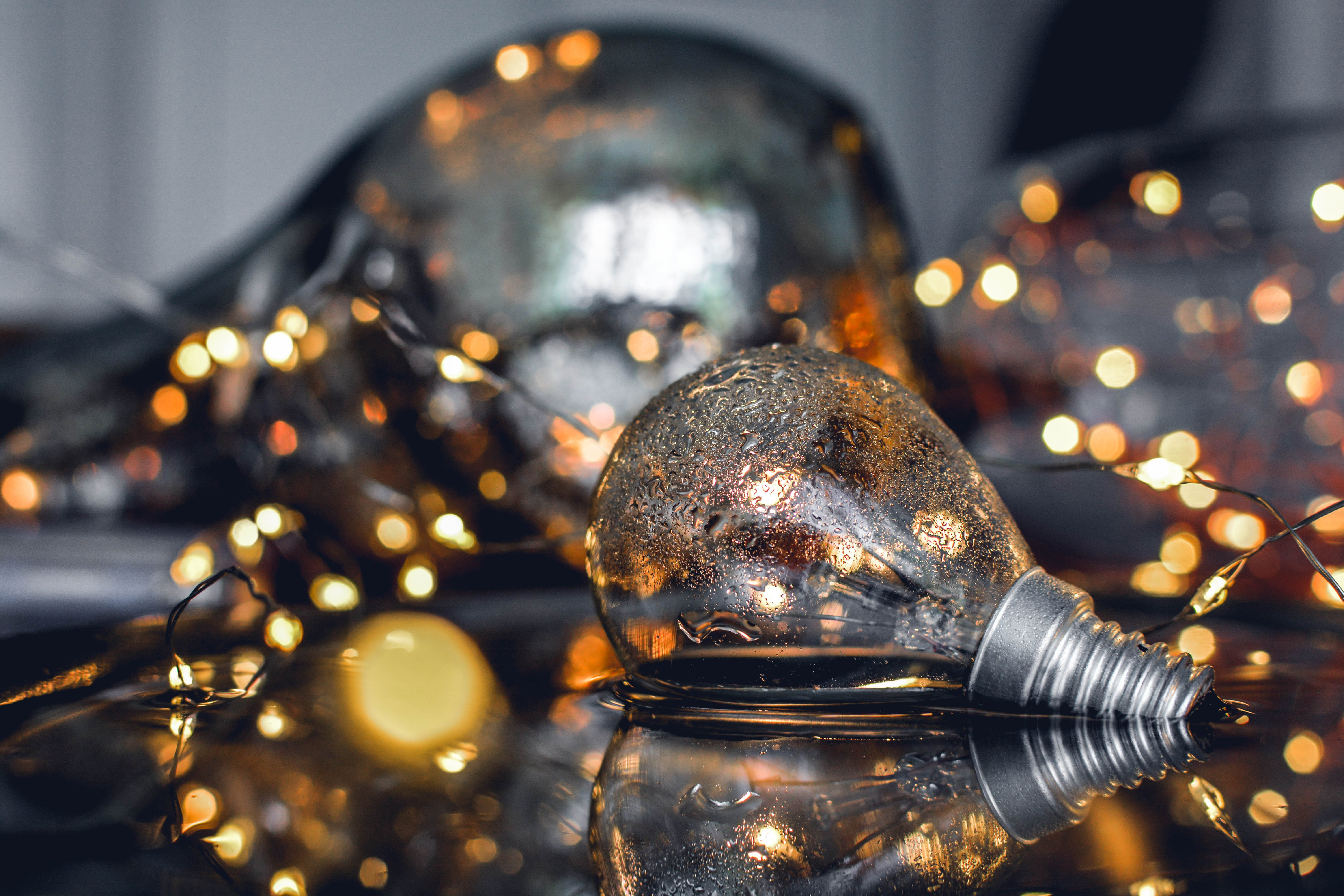 Close-Up Photography of Bulb on Water