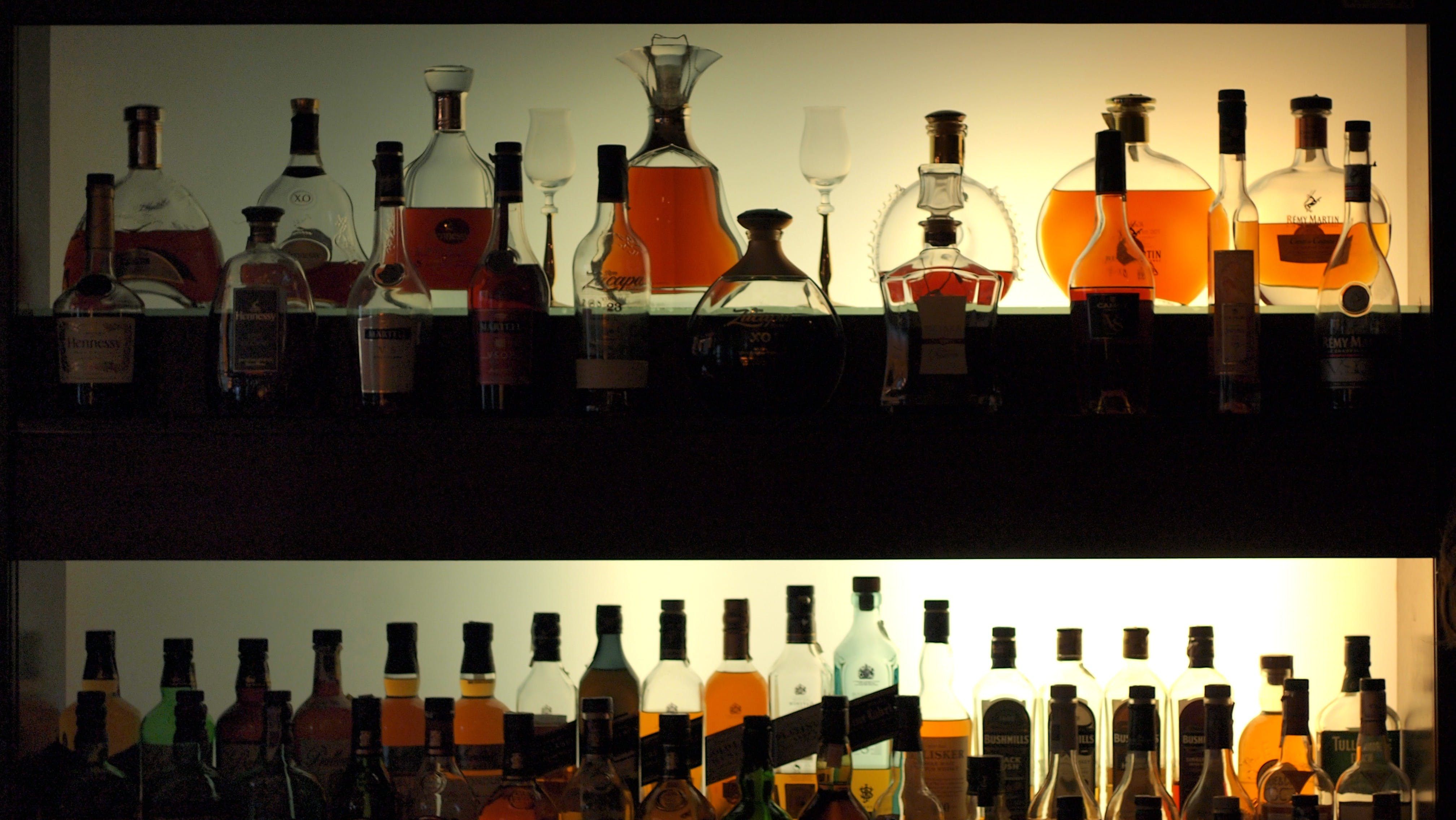 Free stock photo of alcohol, alcohol bottles, bar, display