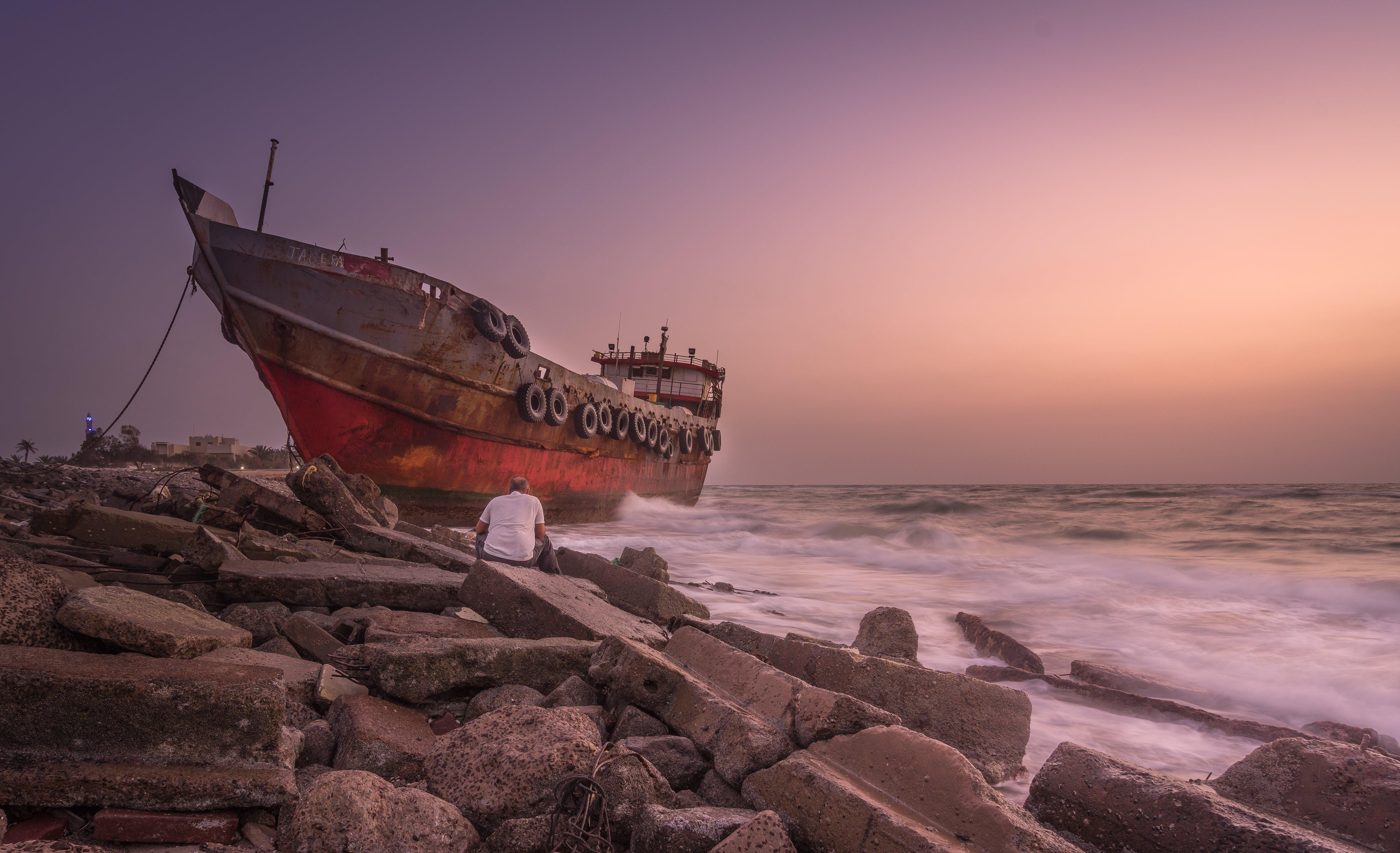 člun, kameny, loď