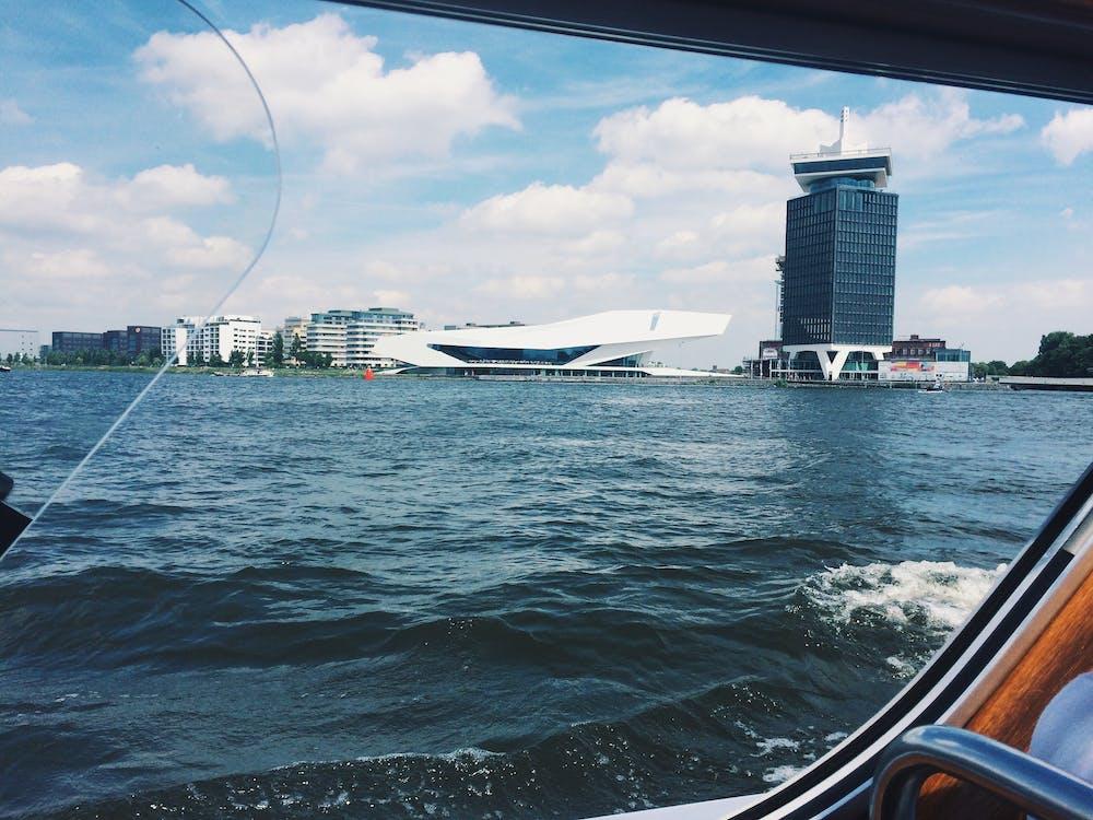 Άμστερνταμ, βάρκα, γραμμή ορίζοντα