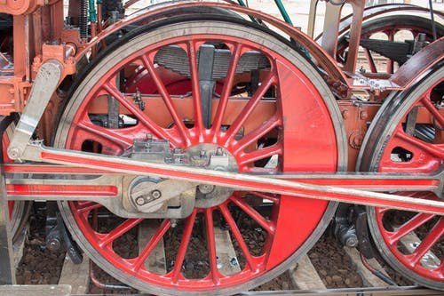 buharlı tren tekerleği, tren tekerleği içeren Ücretsiz stok fotoğraf