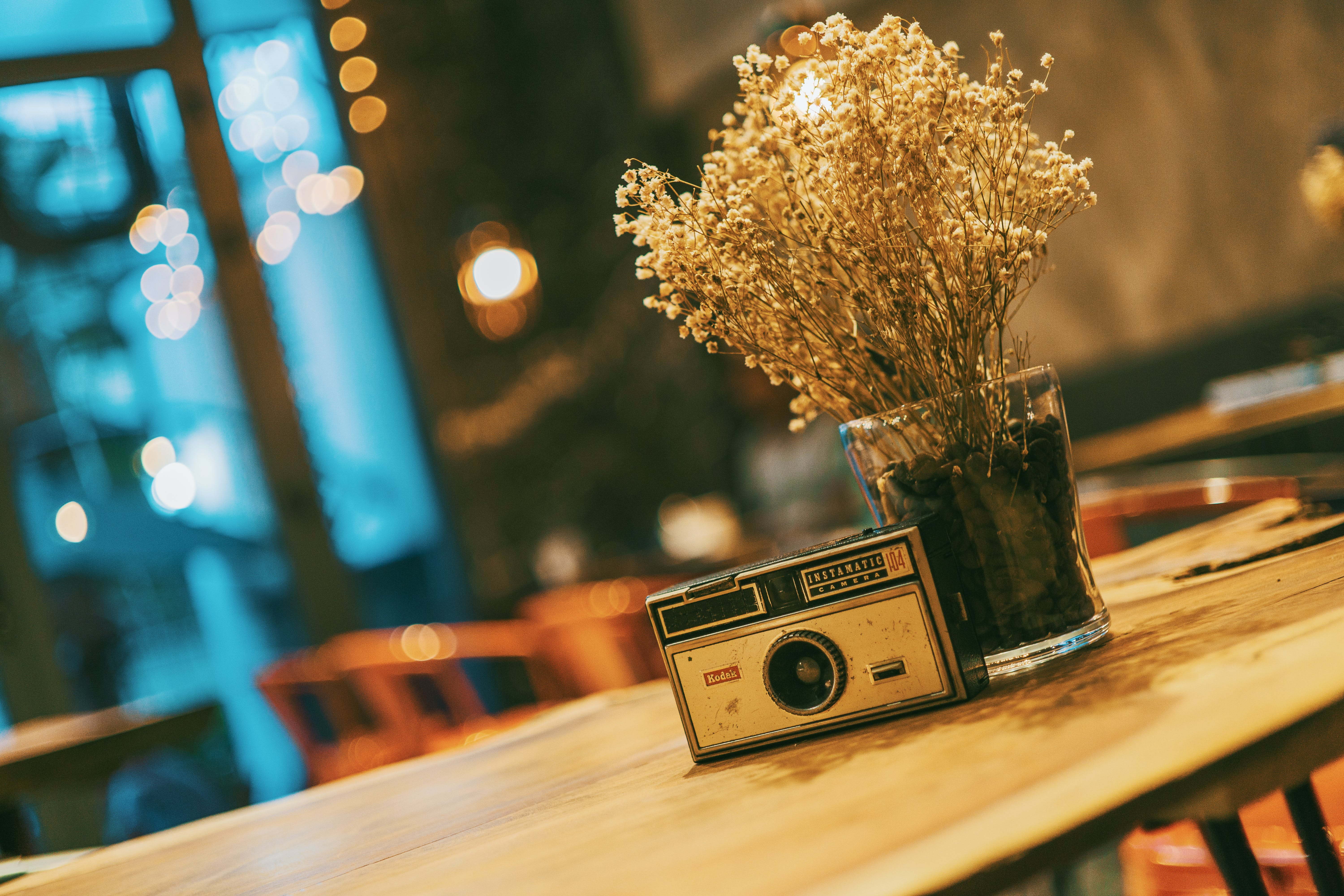 Gray and Black Slr Camera Near Clear Glass Vase
