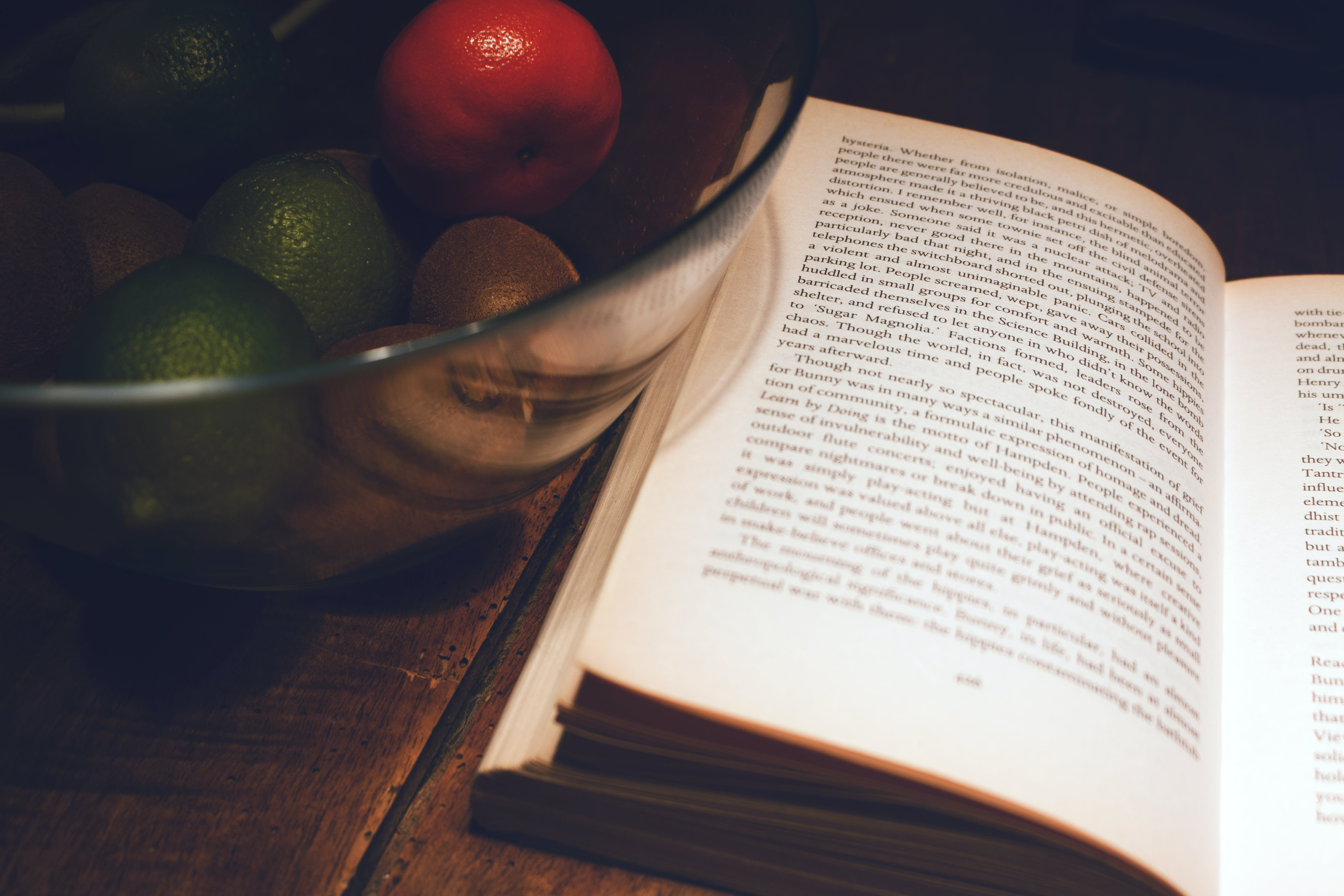 Free stock photo of book, citric, crystal, fruit