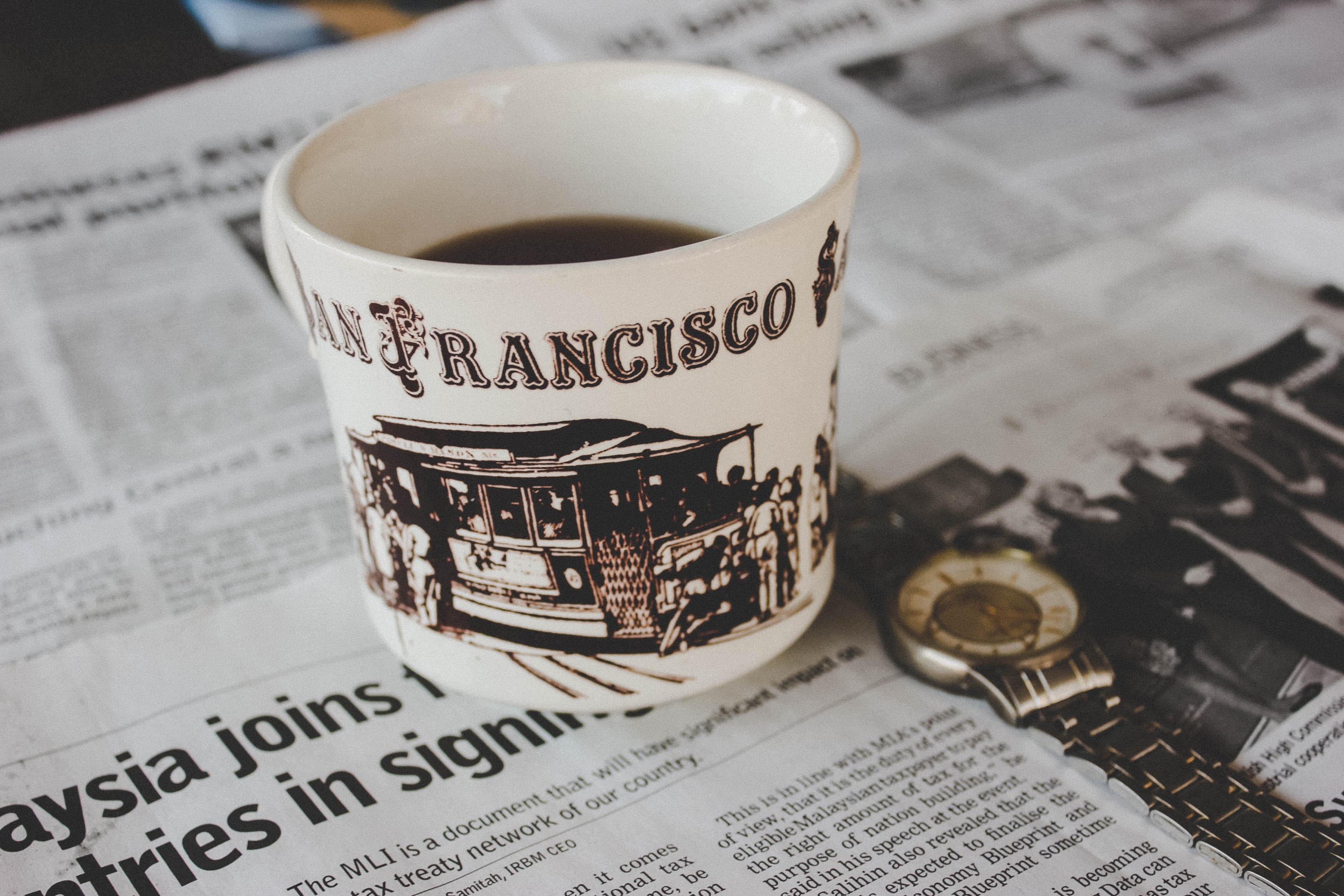 Free stock photo of breakfast, coffee, newspaper, tea