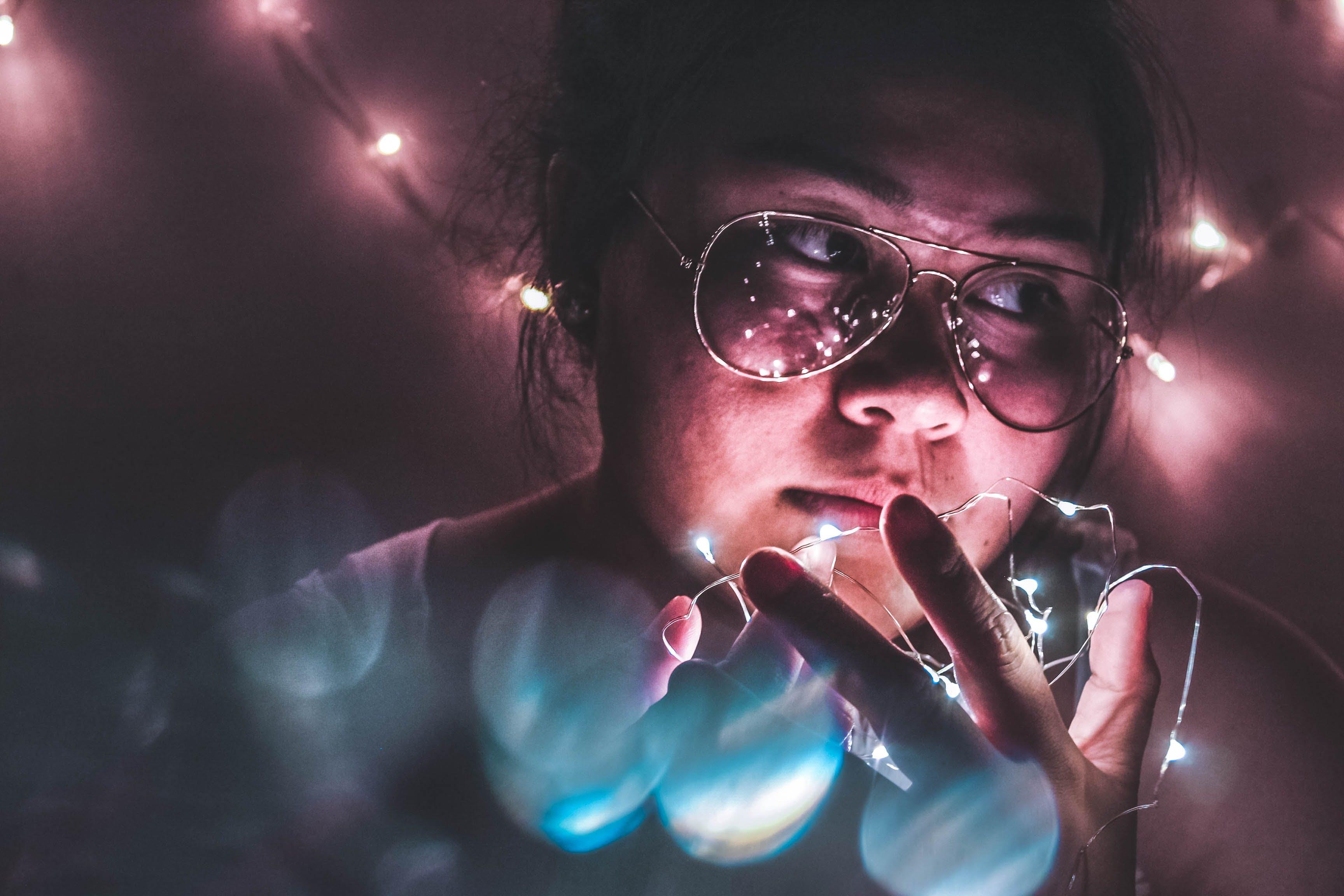 Free stock photo of person, woman, lights, fun