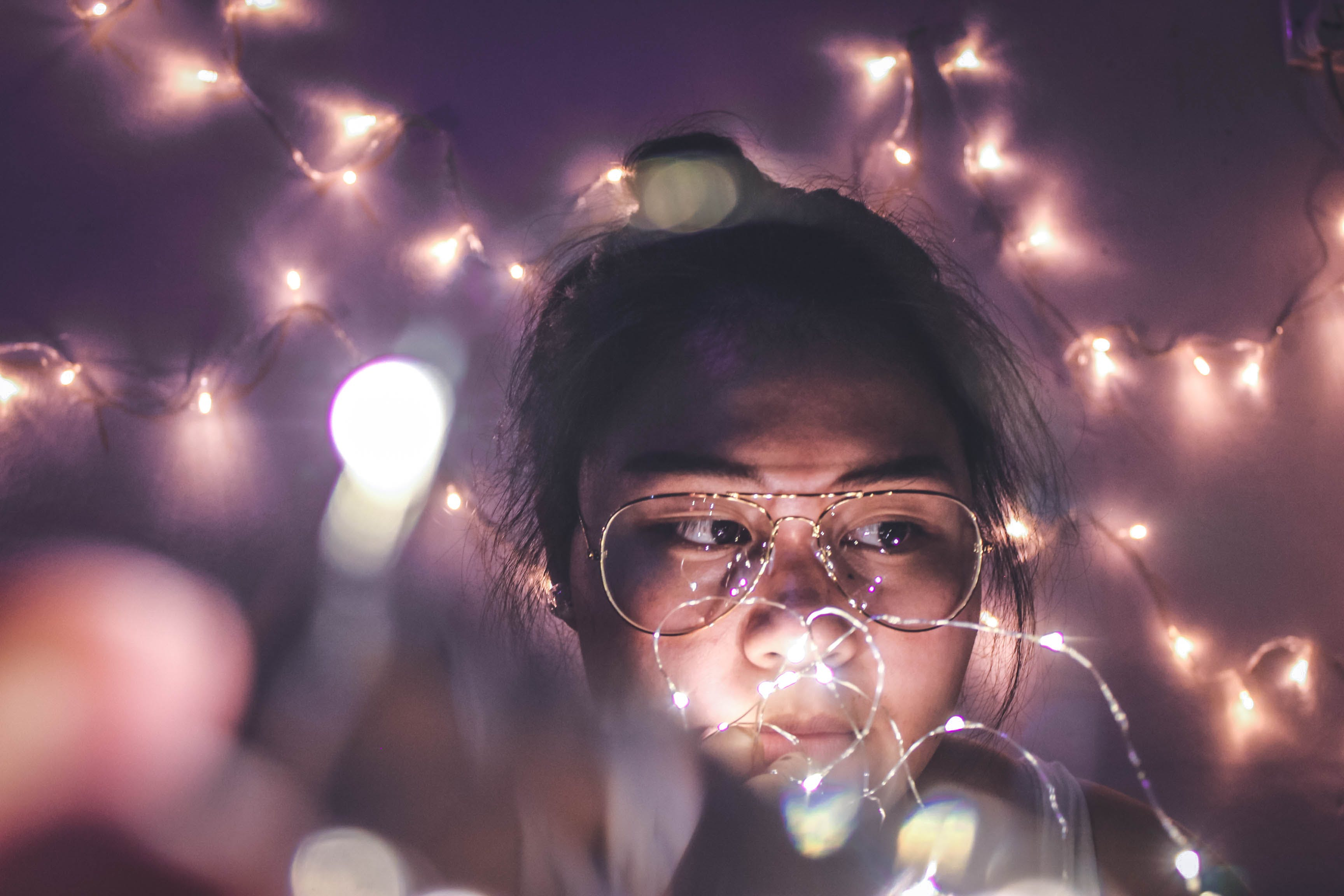 Free stock photo of fairylights, glasses, lights, night
