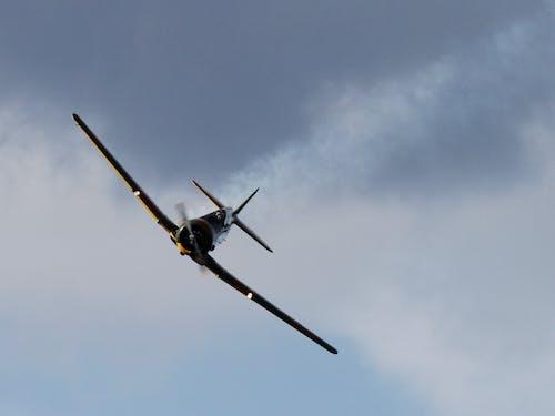 Black Airplane Under Dark Cloud Sky