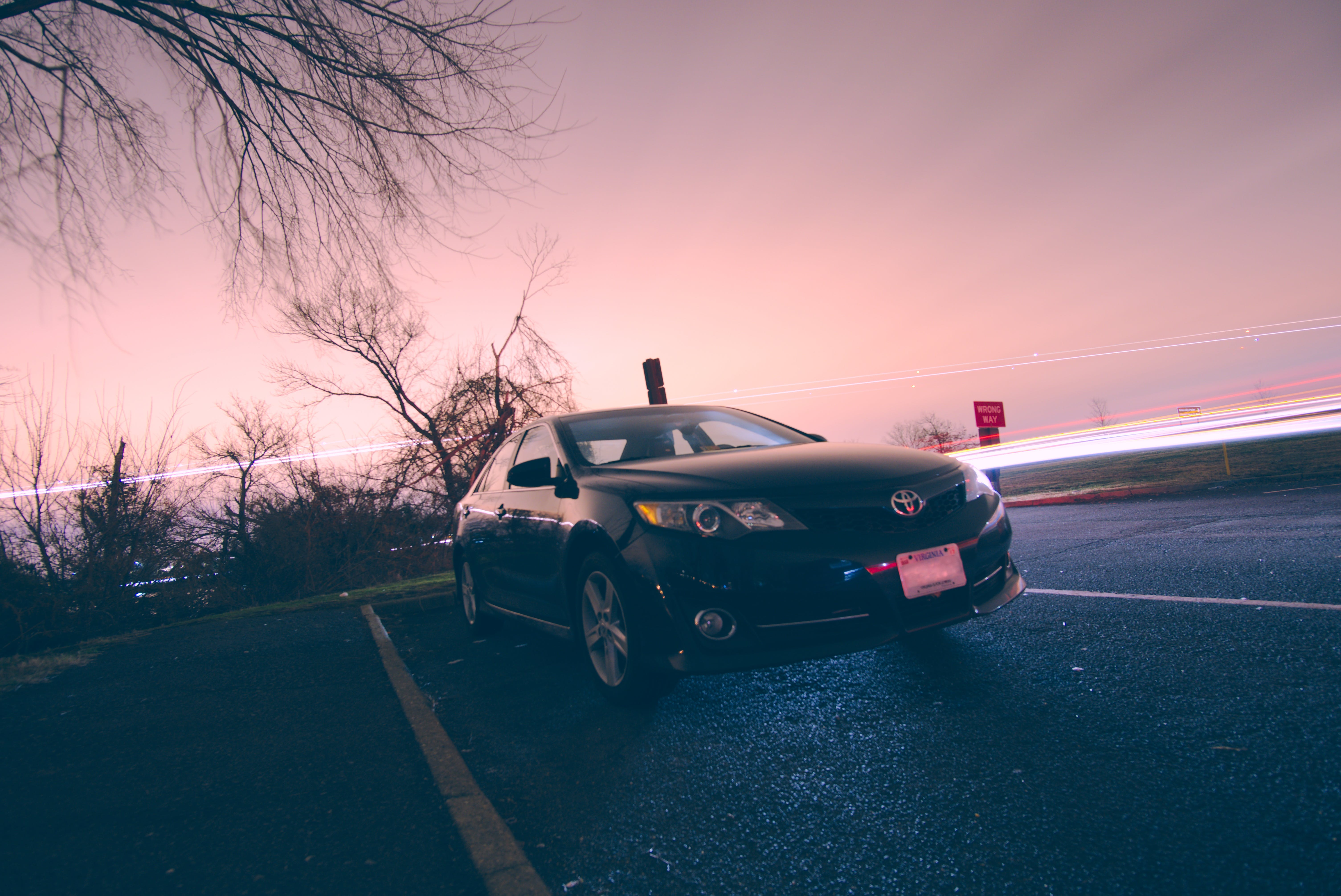 Free stock photo of black car, camry, car, car at night