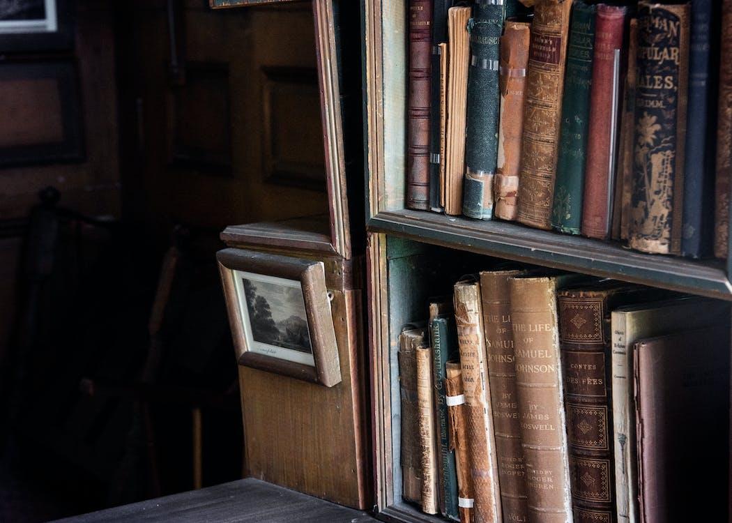 antigüedades, biblioteca, estantería