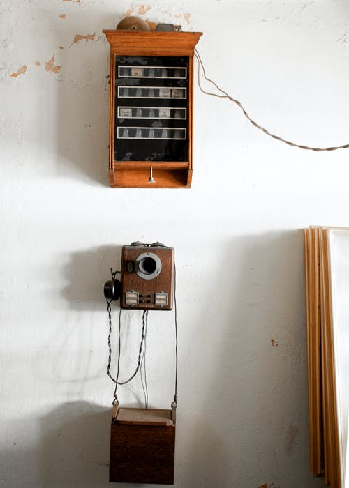 Vintage Brown Wooden Crank Phone