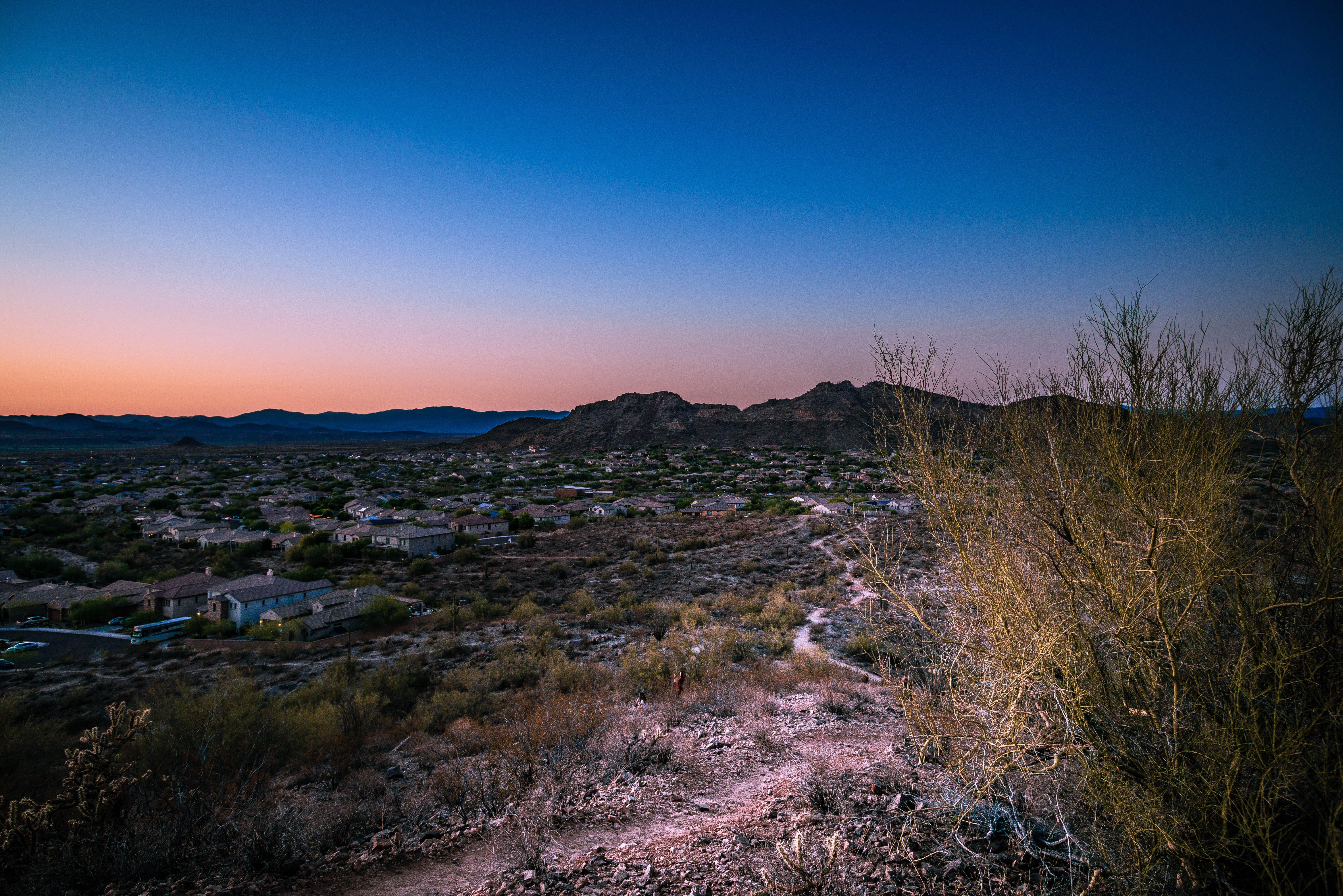 Free stock photo of sunset, desert, mountain, hiking
