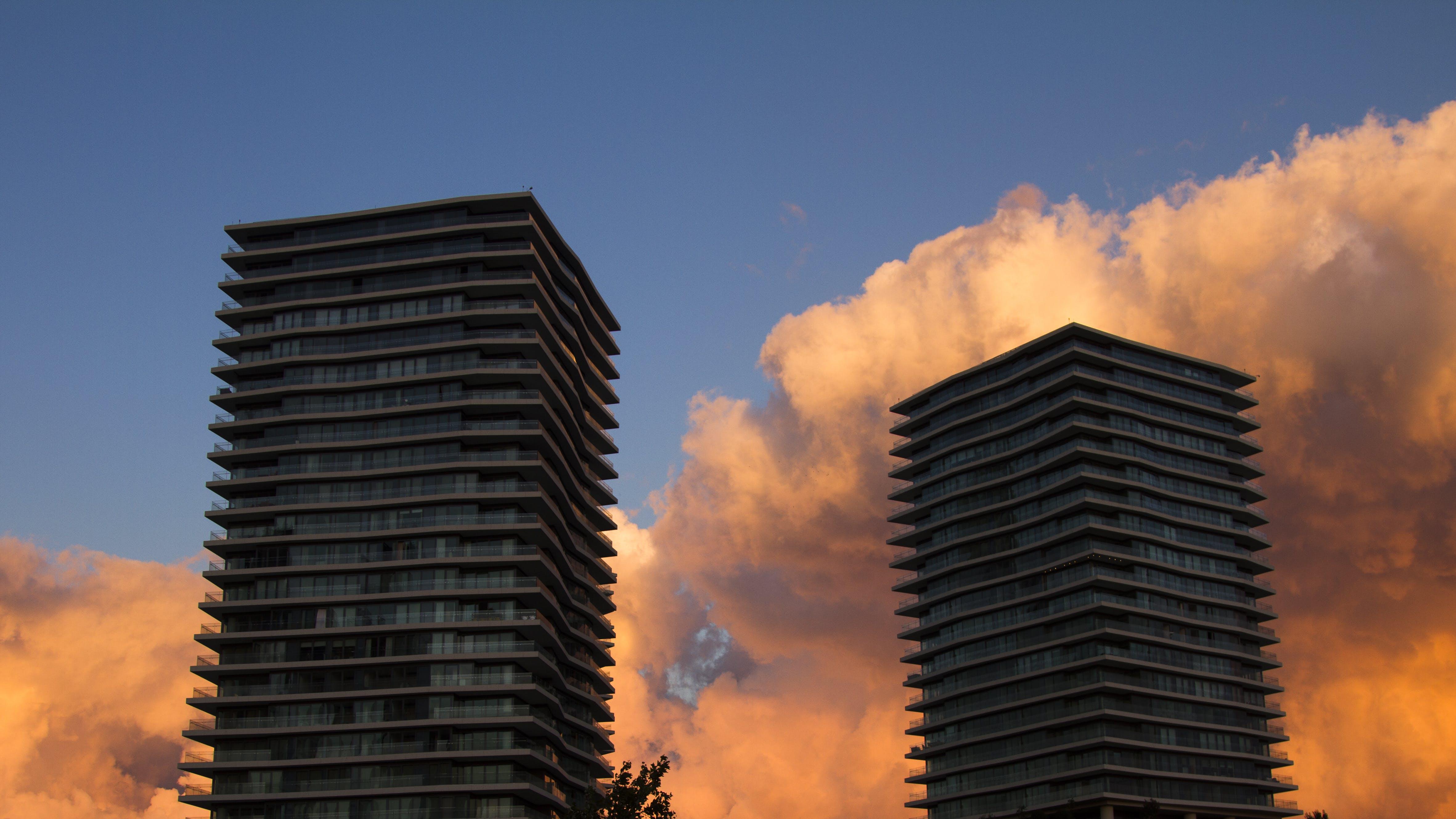 Free stock photo of blue sky, buildings, red sky, sky