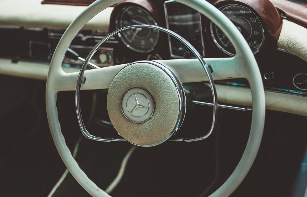 Vintage White Mercedes Steering Wheel