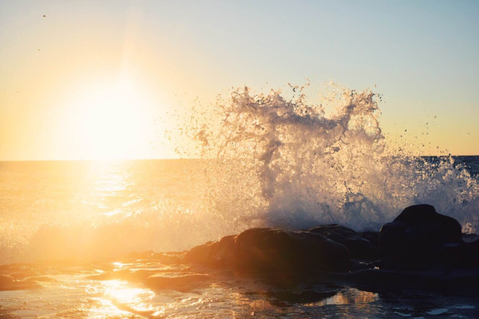 Wave of Water during Sunset