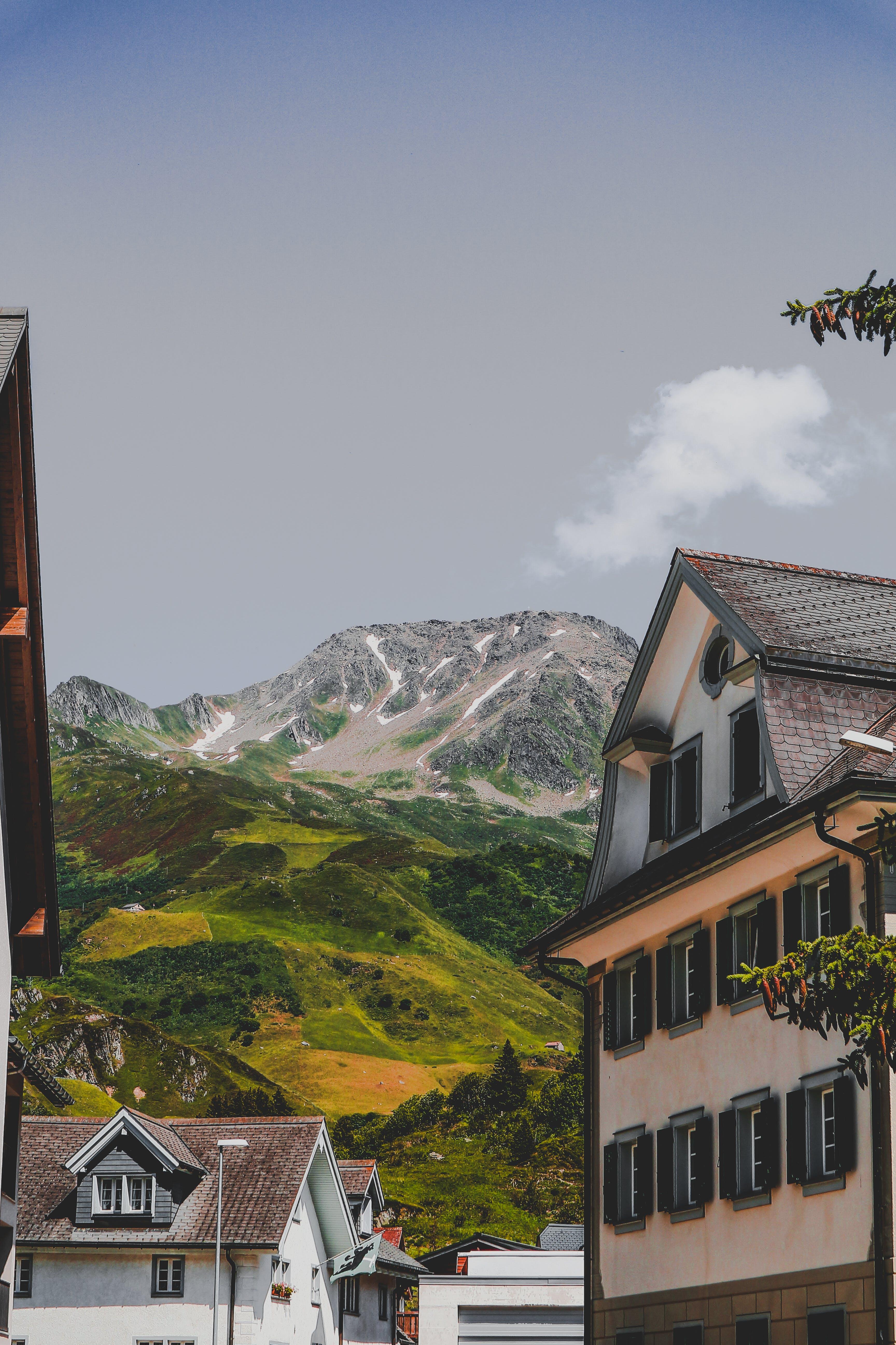 Buildings Near Mountain