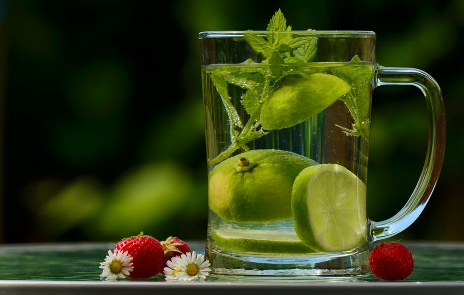 skin with Lemon Water