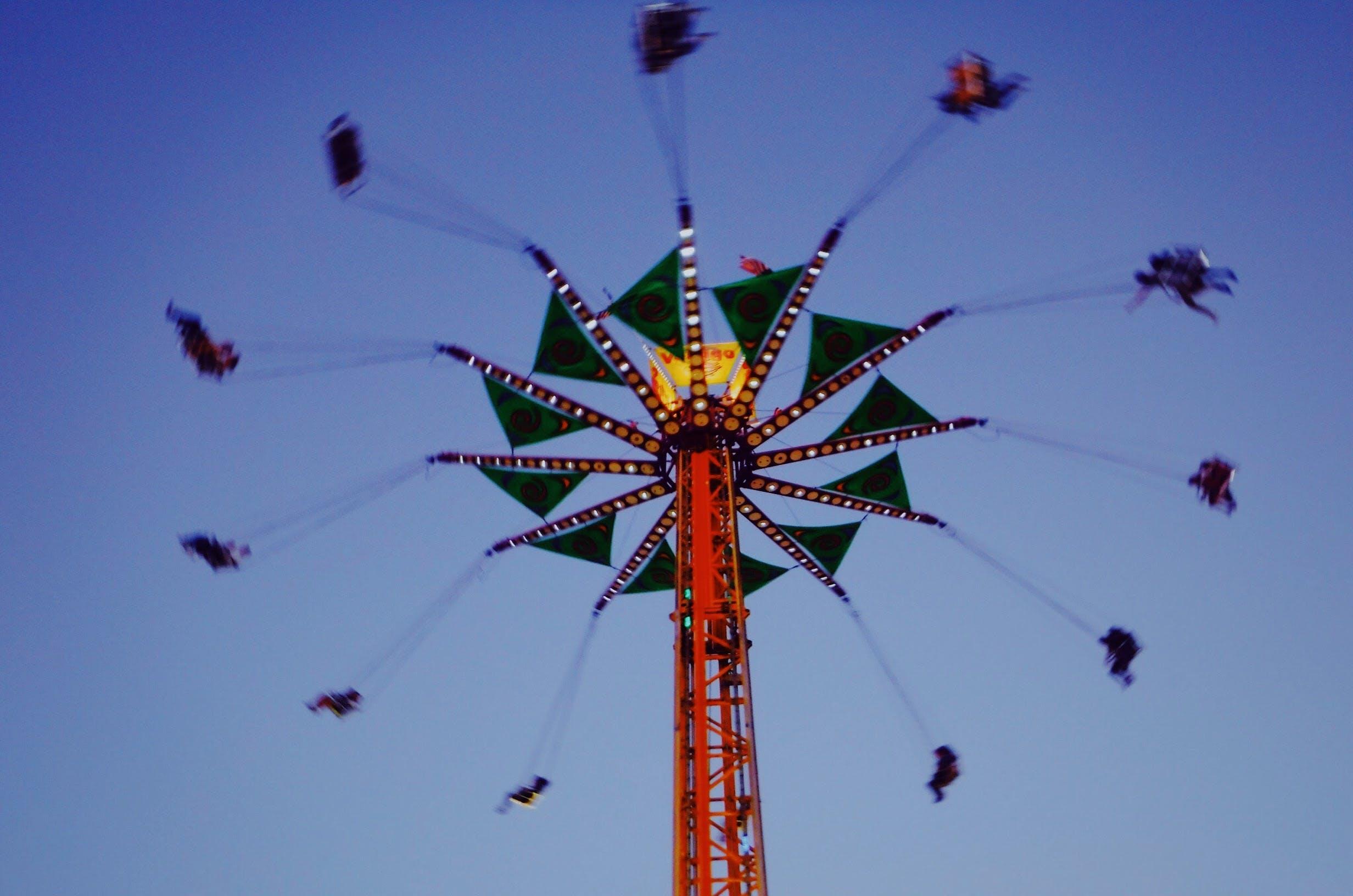 Kostenloses Stock Foto zu festival, silhouette, freizeitpark, jahrmarkt