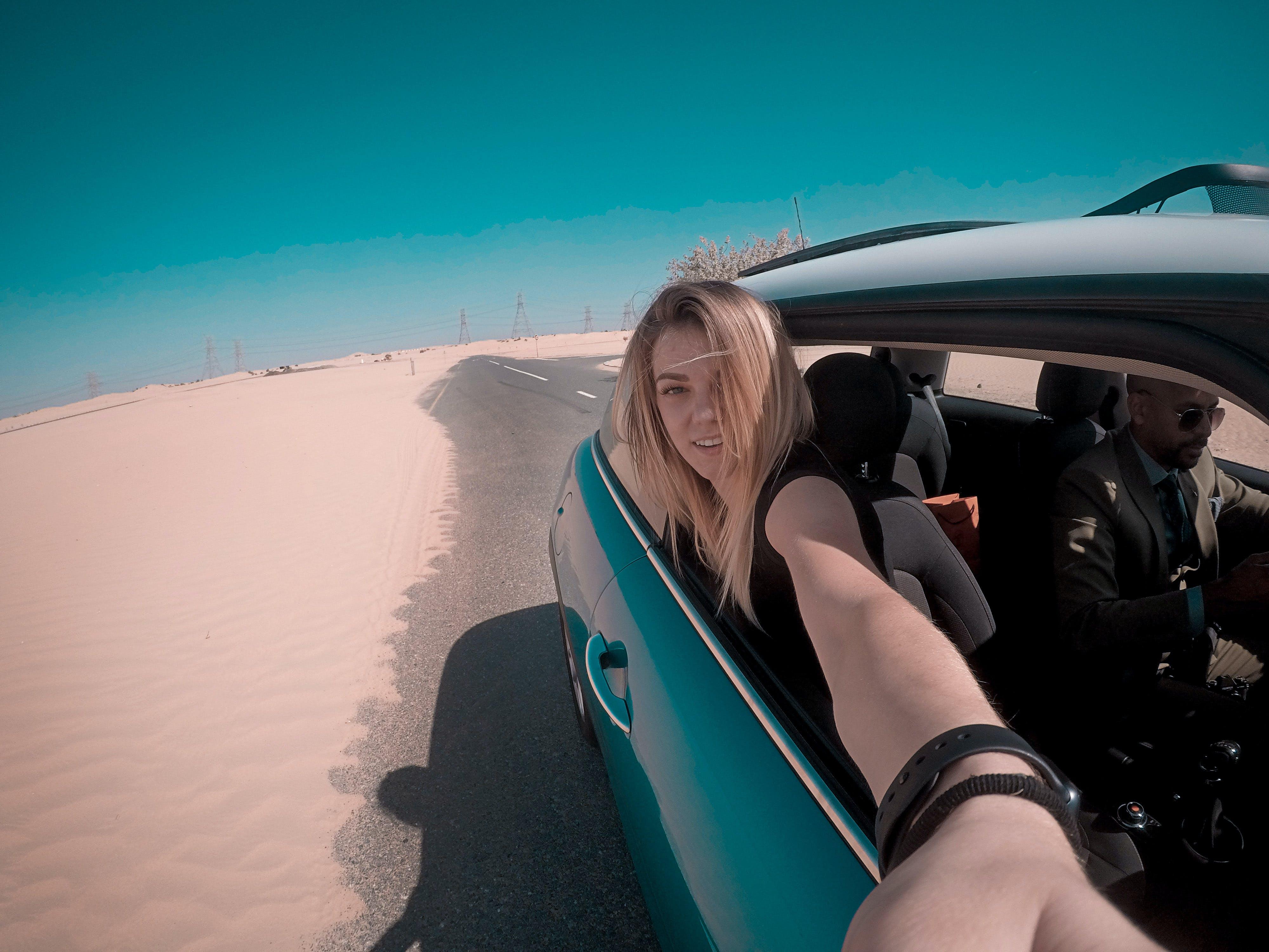 Free stock photo of car, gopro, road, selfie