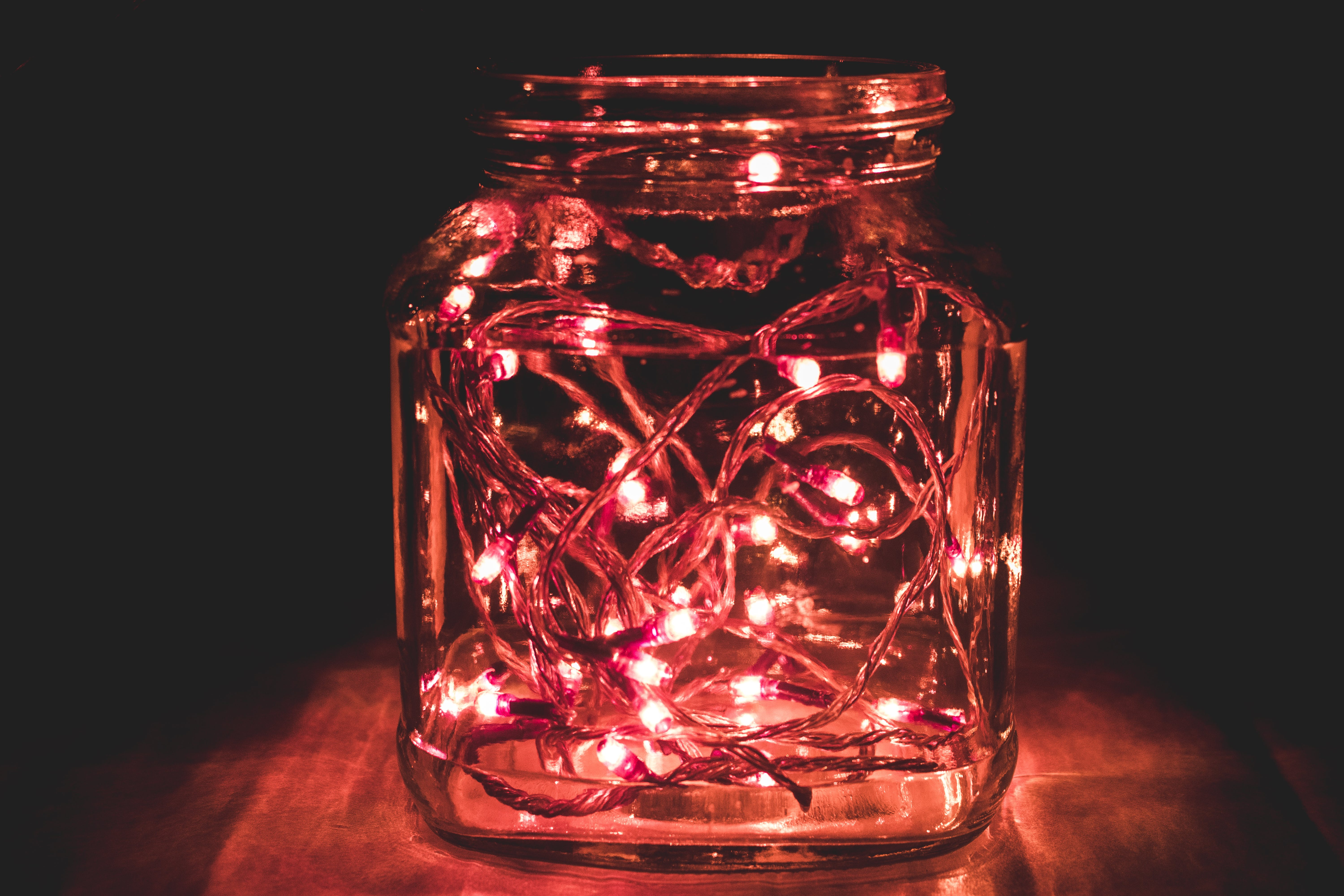 Red String Lights on Clear Mason Har