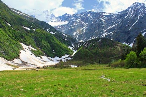 Imagine de stoc gratuită din câmp de iarbă, munte, munți acoperiți de zăpadă, nori