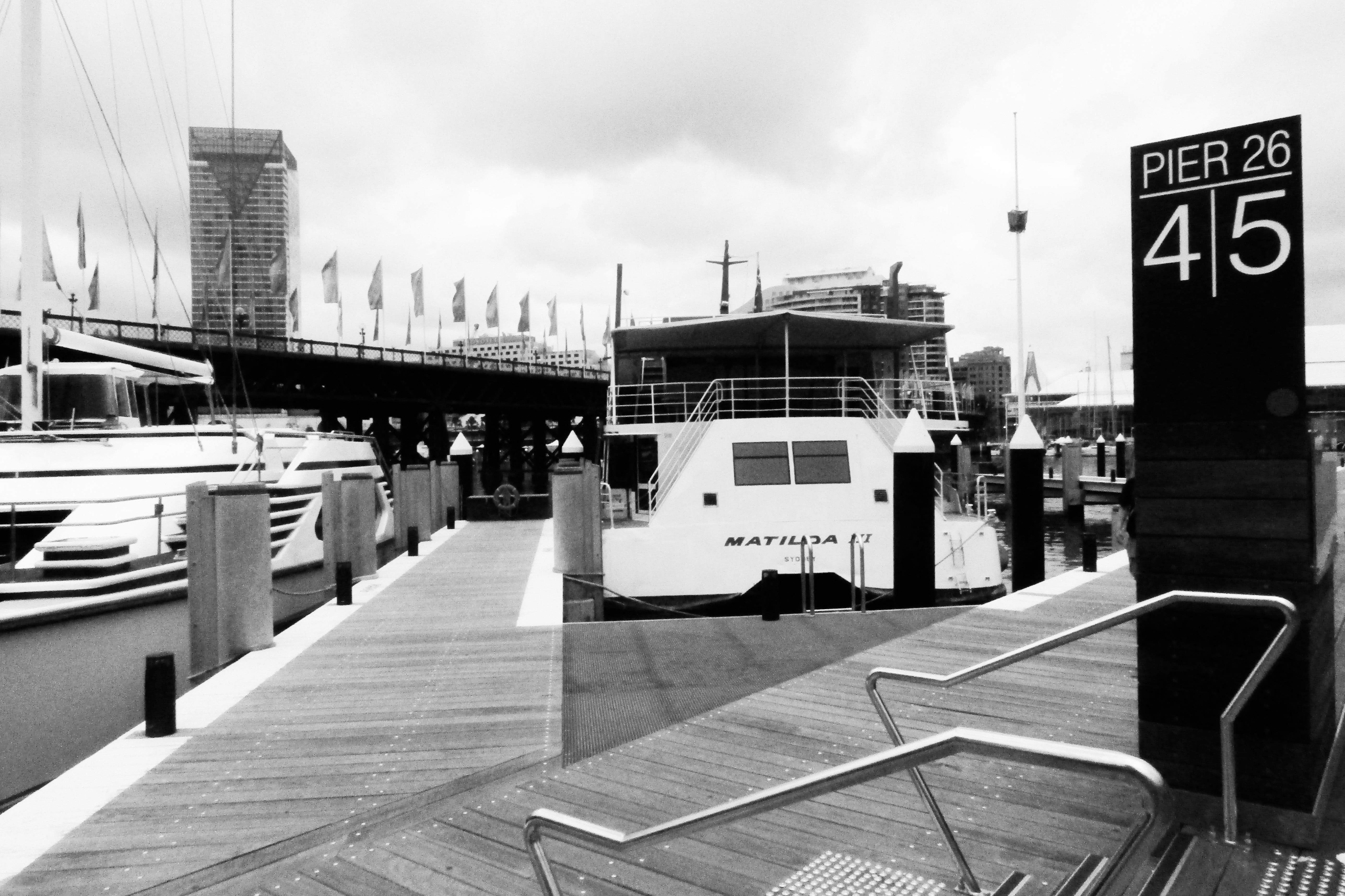 Free stock photo of black and white, boat, day, dock