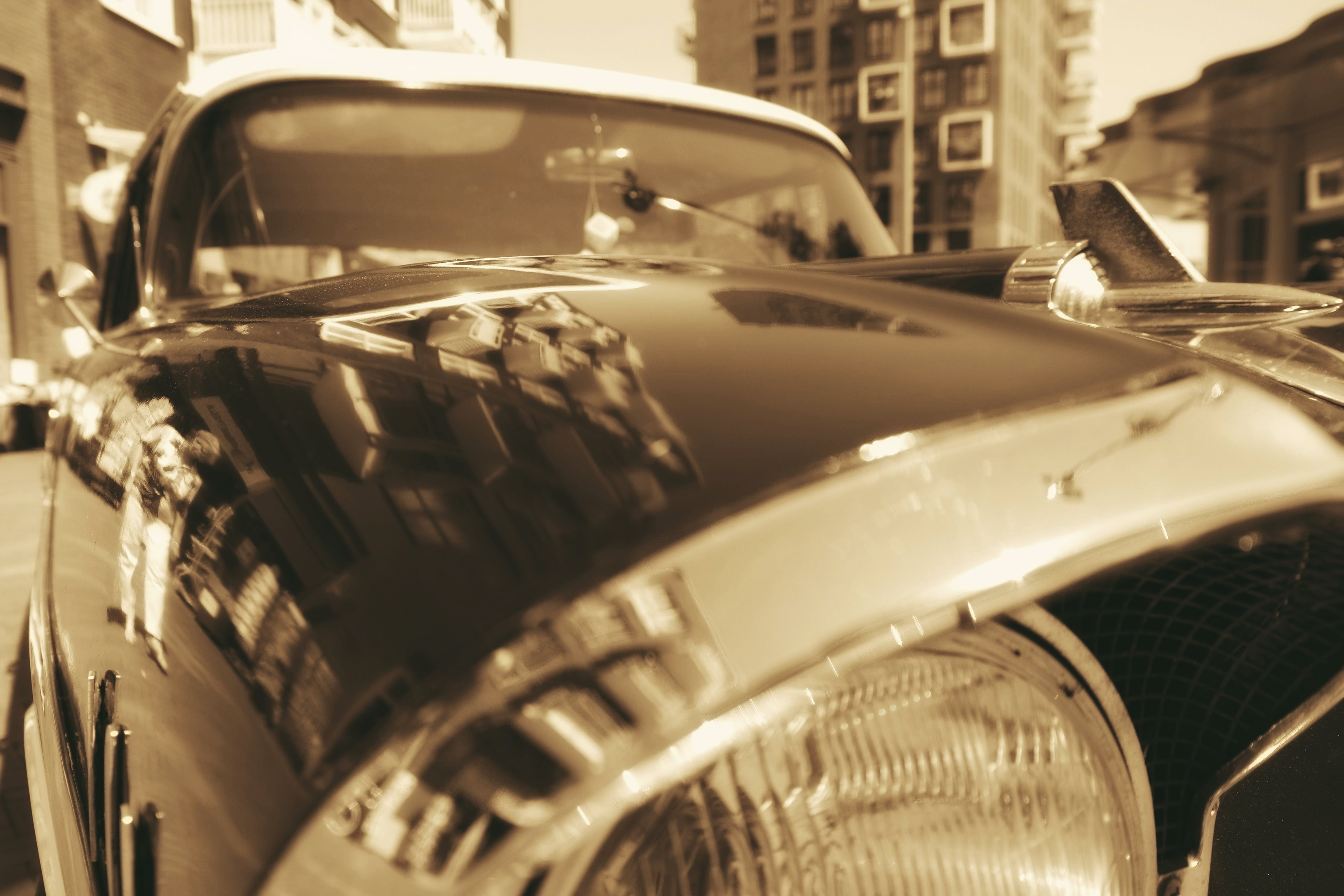 Free stock photo of cars, close-up view, sepia, mirror image