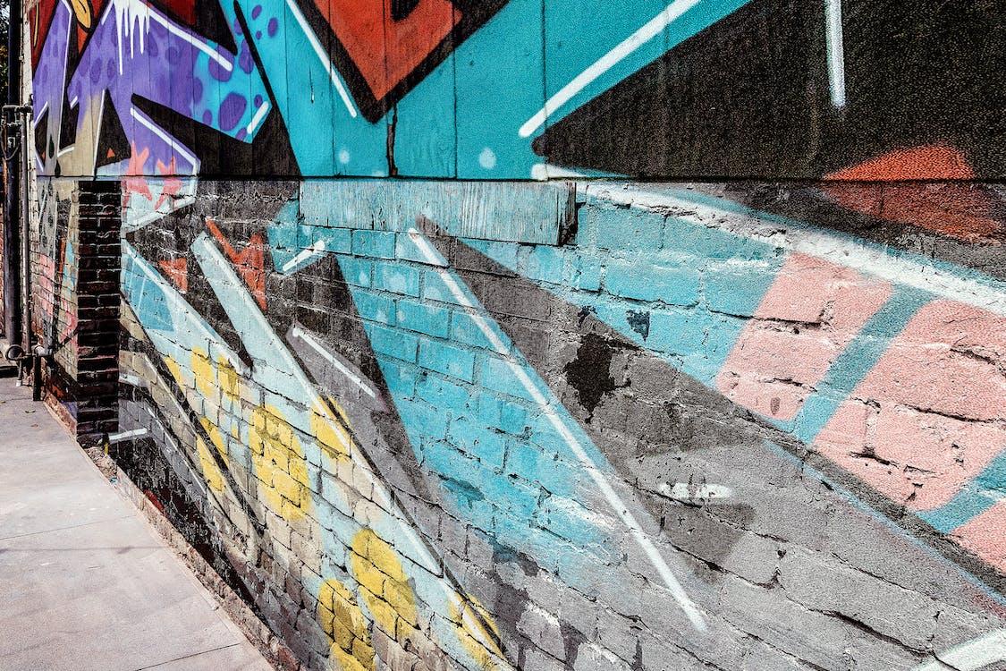 graffiti, muro di mattoni, sfondo