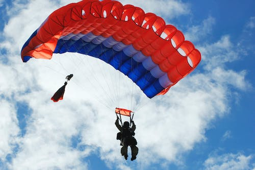 Free stock photo of firefighter, jumping, parachute, skydiving