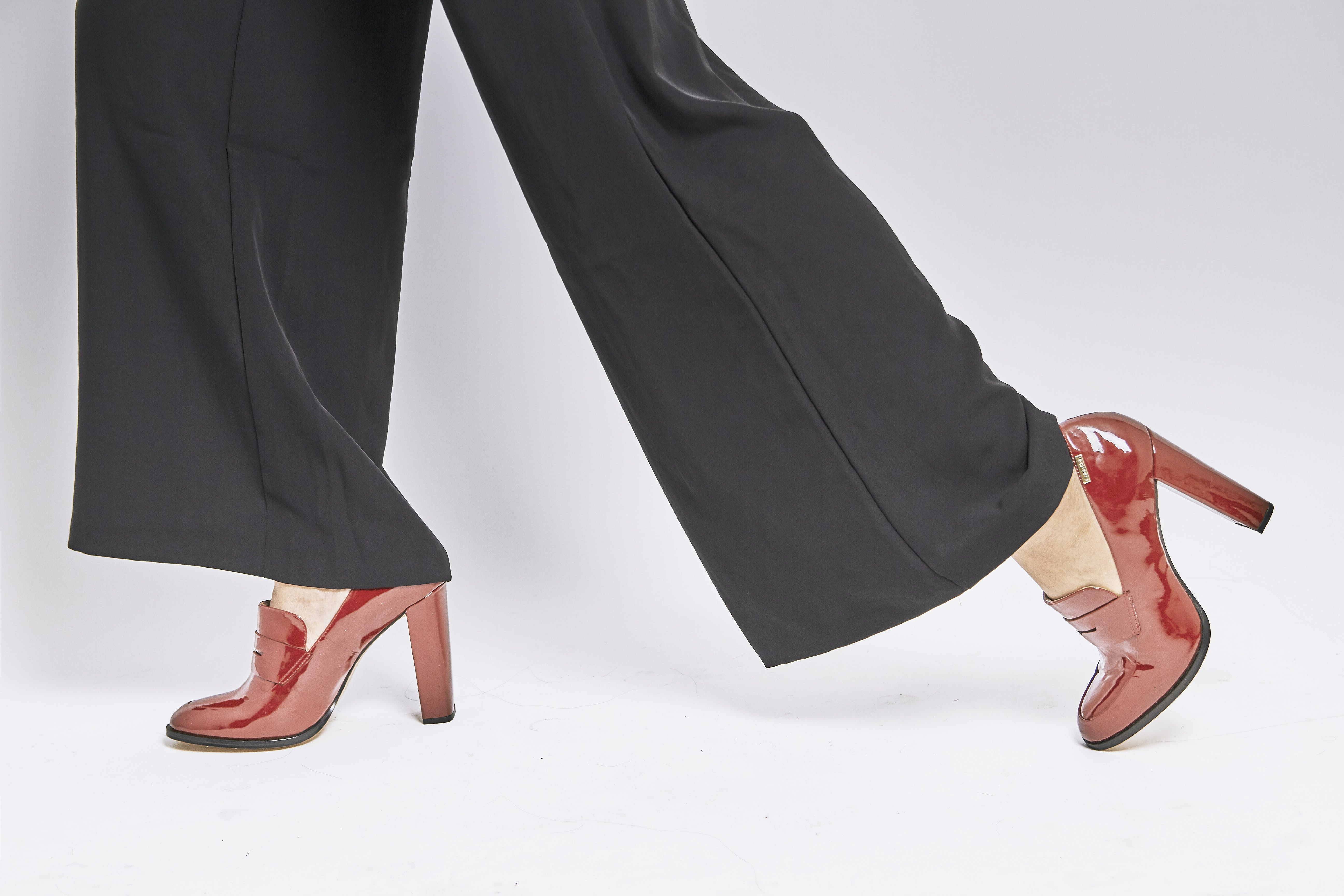 Woman Wearing Brown Leather Chunky Heeled Shoes
