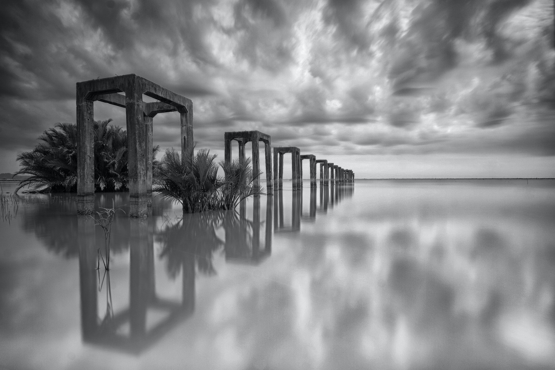 black and white, bridge, clouds