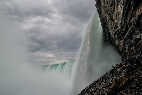 Waterfalls Under Gray Cloudy Sky