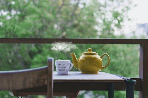 Yellow Teapot and White Ceramic Teacup