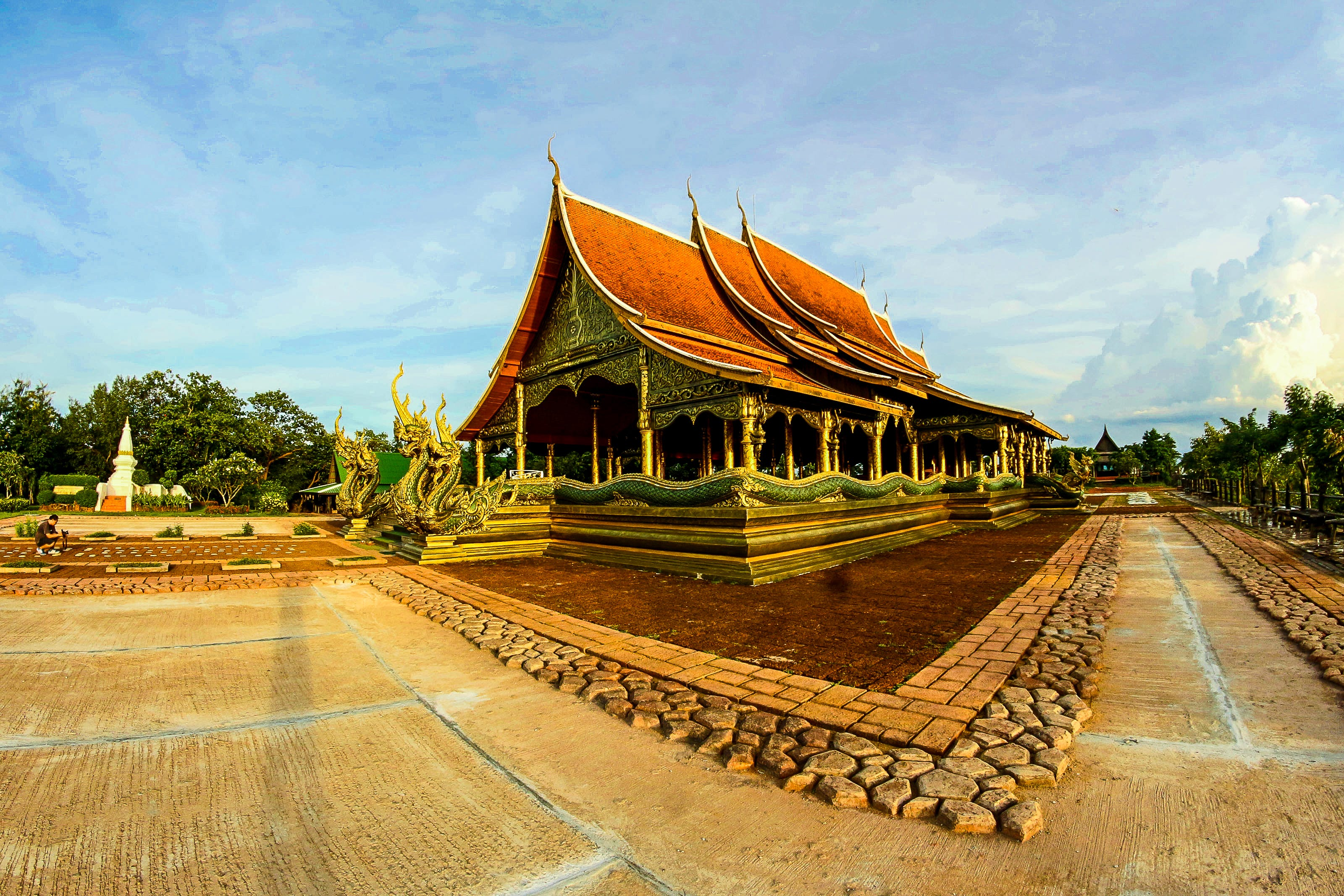 Brown Temple Under Cloudy Blue Sky