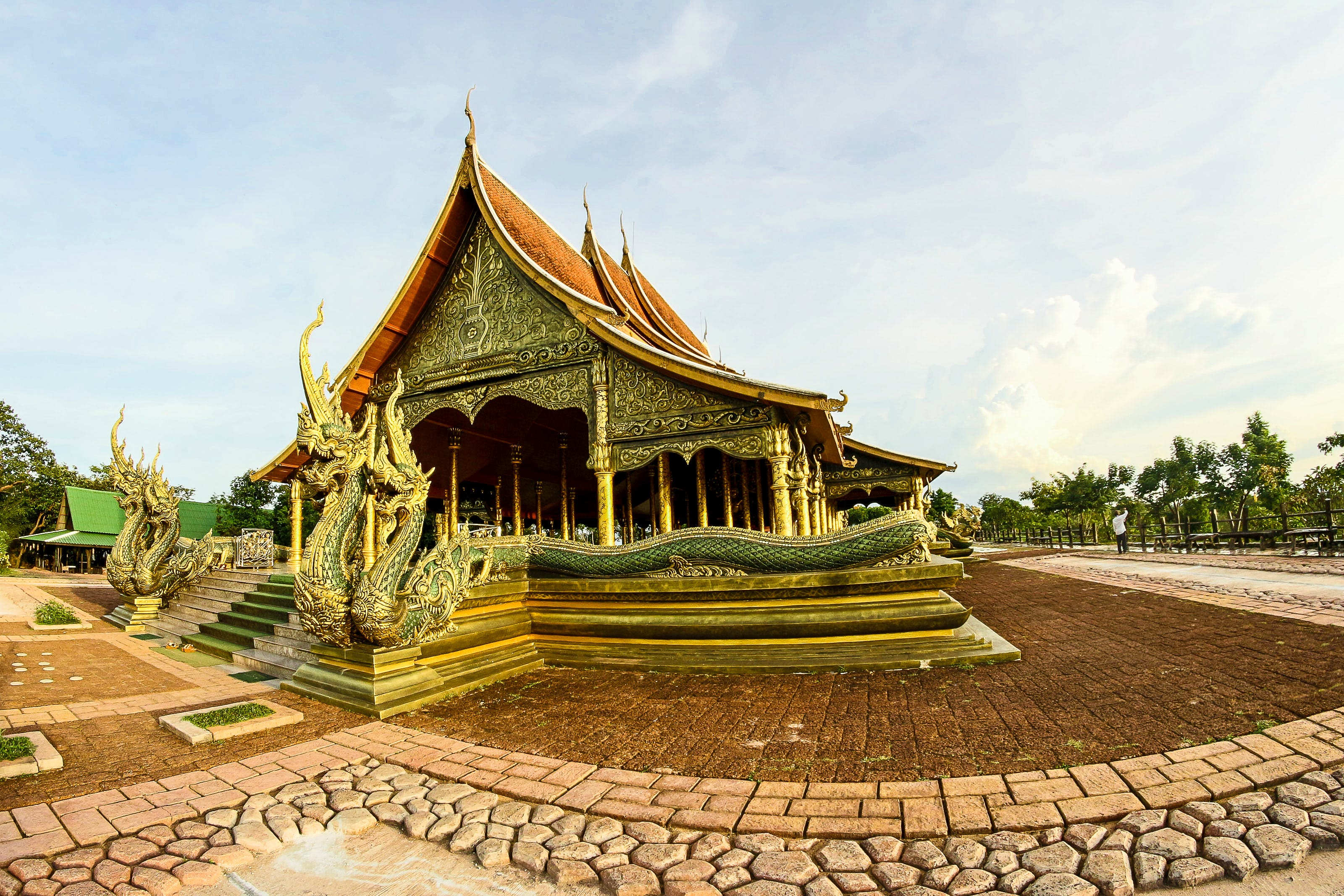 Green and Brown Pagoda Temple