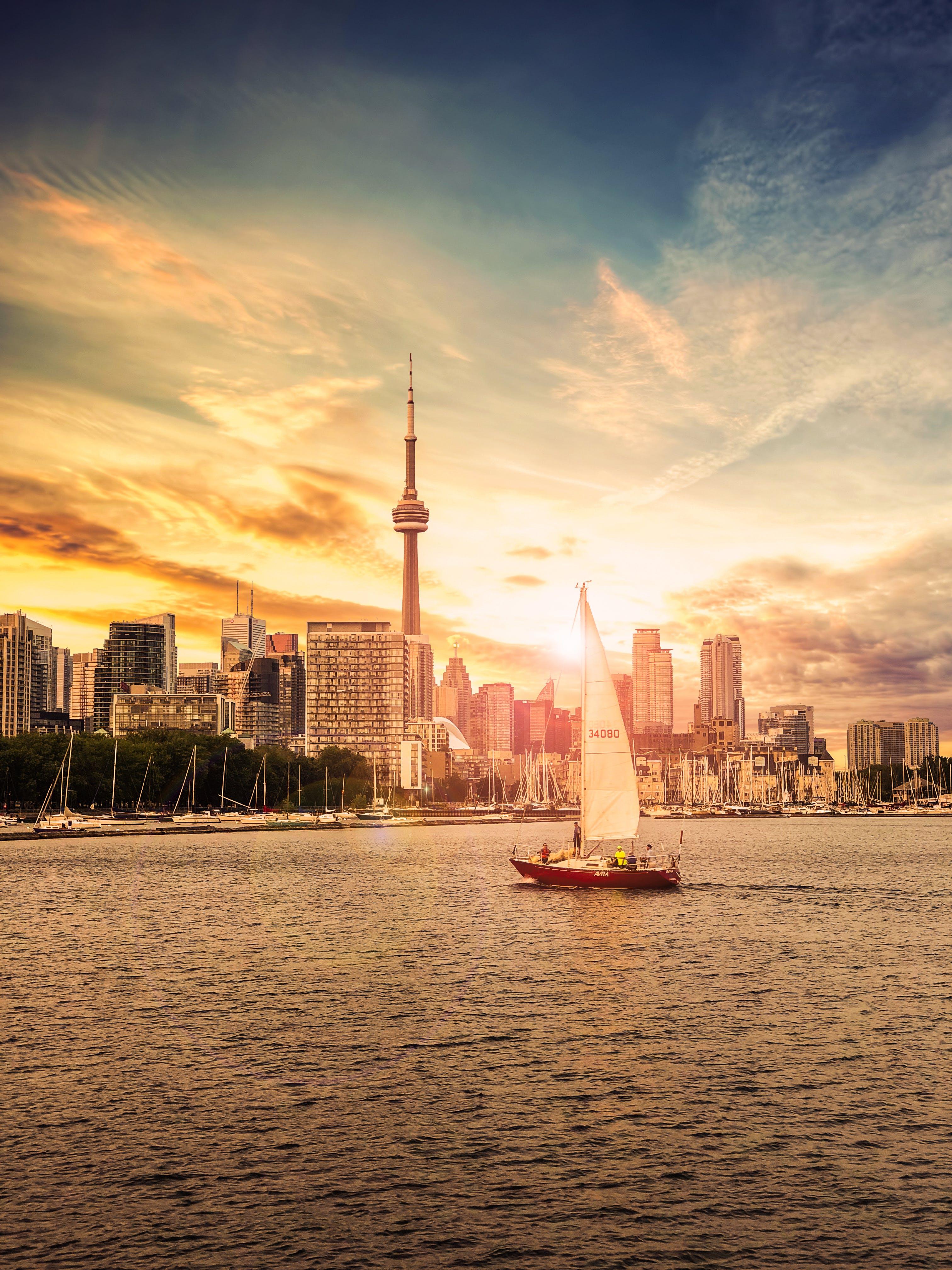 Free stock photo of sunset, skyline, summer, boat