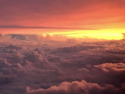 Free stock photo of clouds, fiery sky, flying