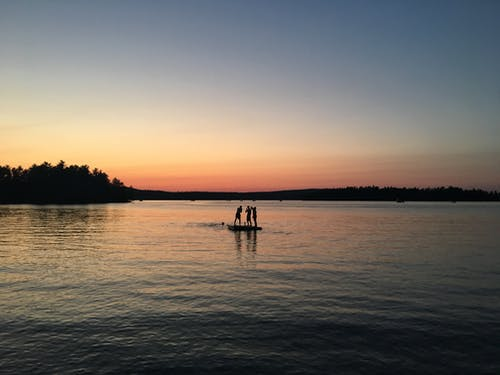 Free stock photo of kids on a raft, lake at sunset, Little Sebago, maine
