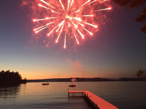 Free stock photo of boats, dock, fireworks, fireworks over lake