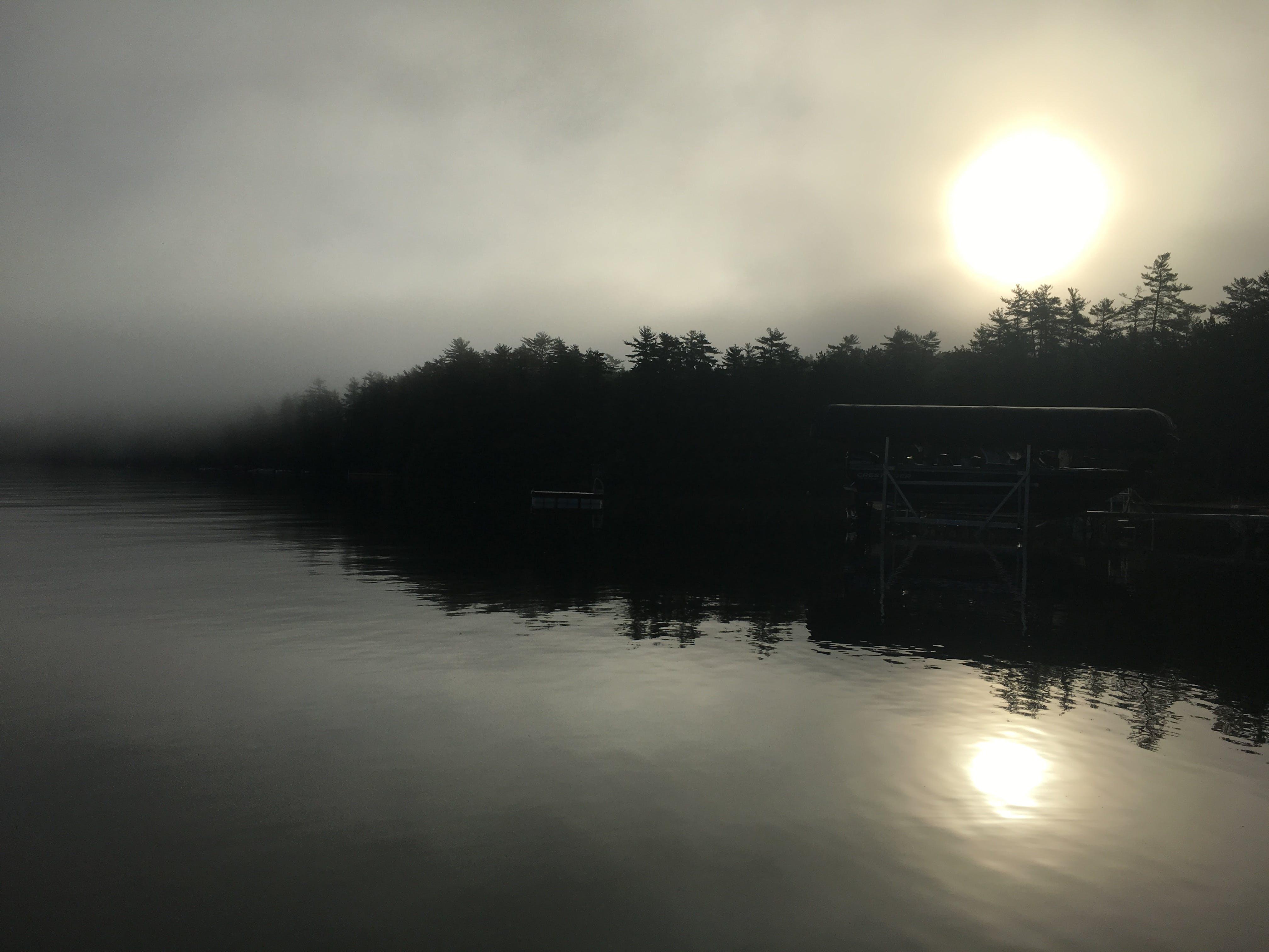 Free stock photo of Foggy Lake, foggy sunrise, maine, Maine lake
