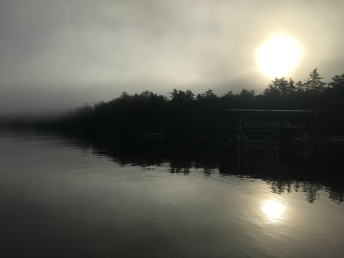 Free stock photo of Foggy Lake, foggy sunrise, maine, Maine lake