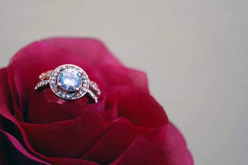 Closeup Photography of Clear Jeweled Gold-colored Cluster Ring on Red Rose