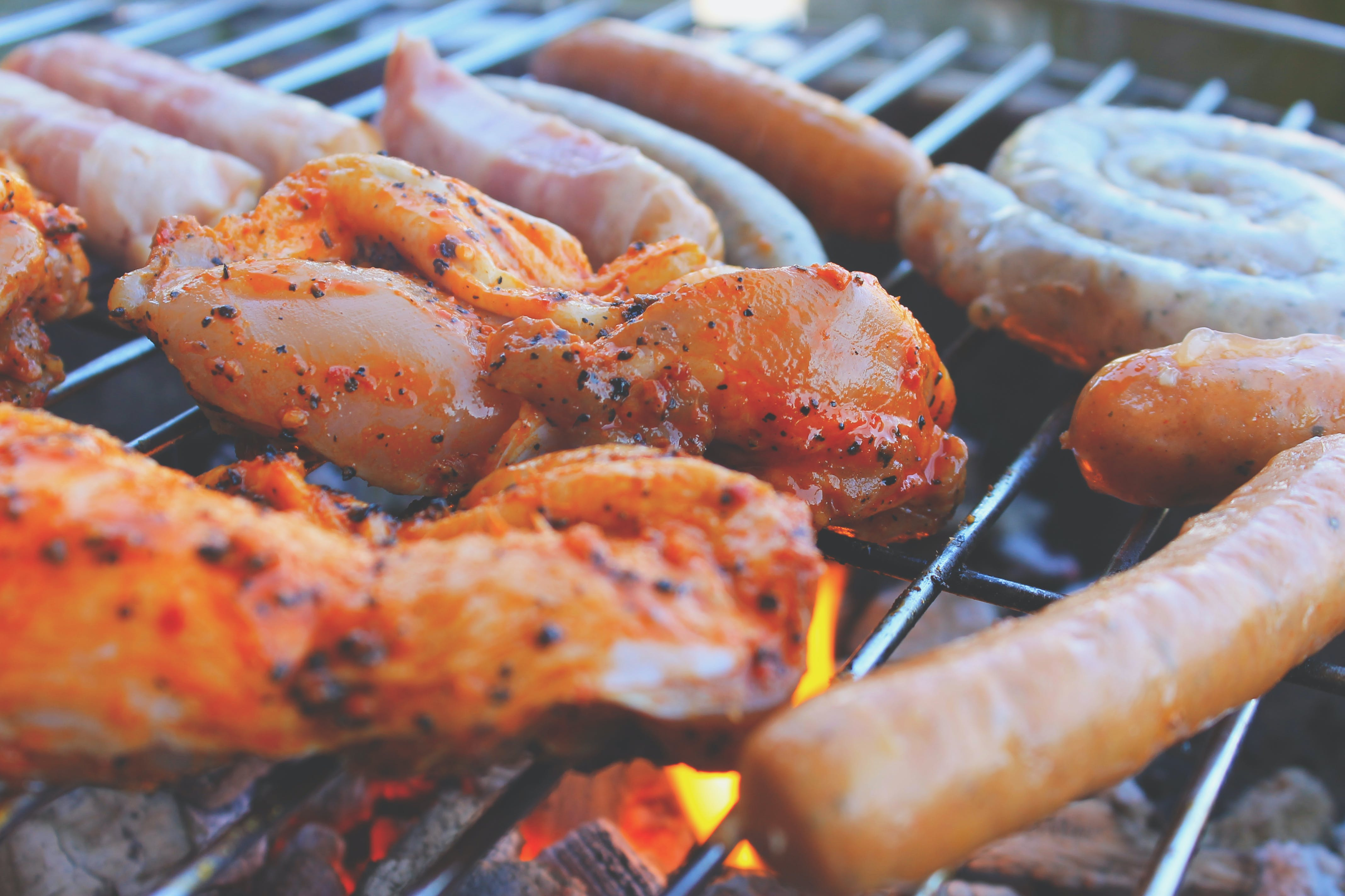 Free stock photo of fire, sausages, meat, barbecue