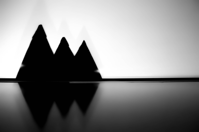 Free stock photo of black and white, pyramids, shadow