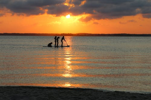 Základová fotografie zdarma na téma surfovací prkno, západ slunce