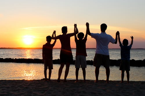 Free stock photo of family, holding hands, sunset, teamwork