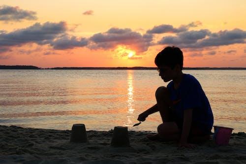 Základová fotografie zdarma na téma hrad z písku, písek, pláž, západ slunce
