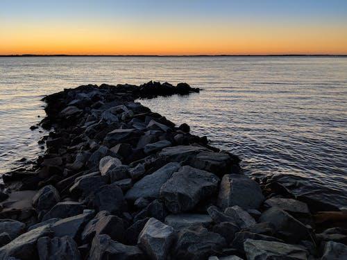 Základová fotografie zdarma na téma kameny, molo, záliv, západ slunce